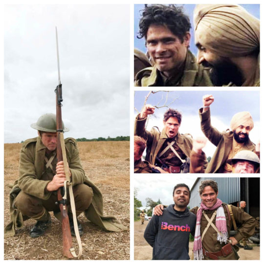 Alex Reece with Diljit Dosanjh on the sets of Sajjan Singh Rangoot. Collage 2.