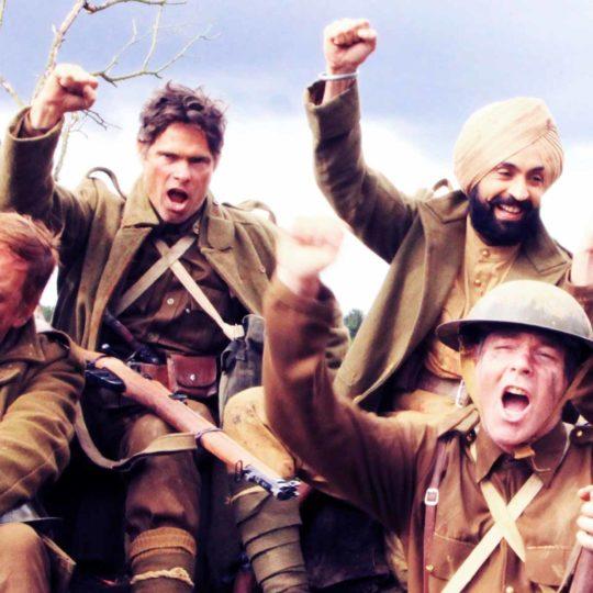 Alex Reece with Diljit Dosanjh on the sets of Sajjan Singh Rangoot. Pic 2.