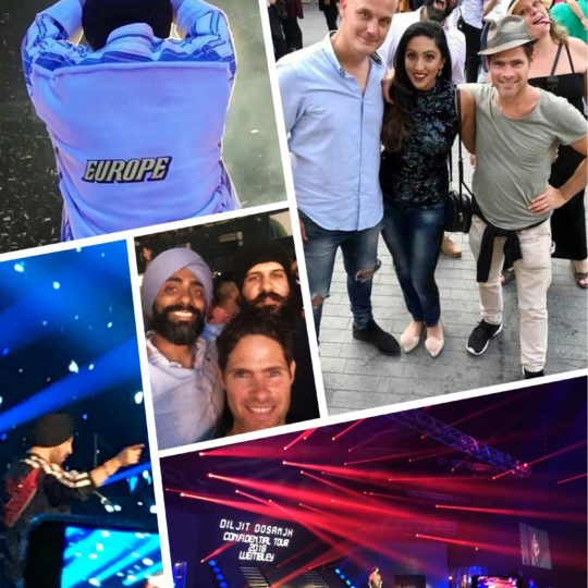 Alex Reece with friends at Diljit Dosanjh's musical concert in London. – Pic 2