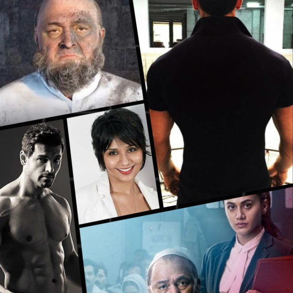 Collage — Preetisheel Singh (center) along with pics from Mulk and RAW. Images courtesy – Internet