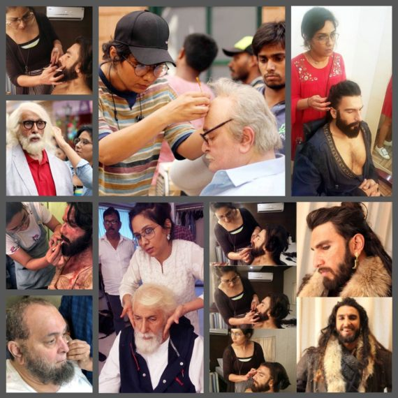 Collage — Make-up, hair and prosthetic specialist Preetisheel Singh with Amitabh Bachchan, Rishi Kapoor, Ranveer Singh and Shahid Kapoor during the making of Padmaavat, 102 Not Out and Mulk.
