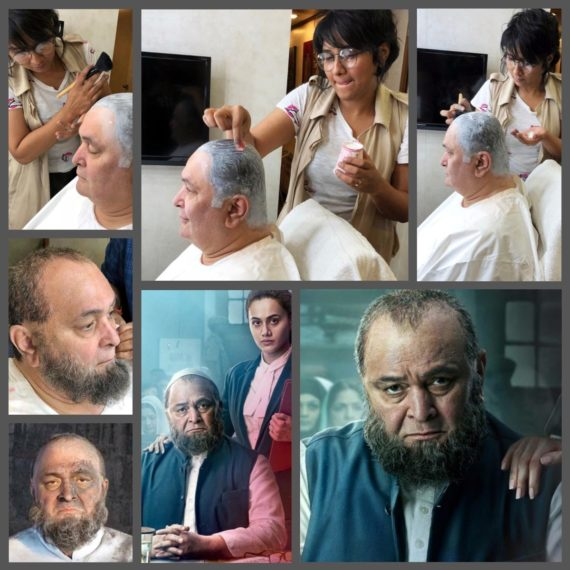 Collage — Make-up, hair and prosthetic specialist Preetisheel Singh with Rishi Kapoor during the making of Mulk. Also — Posters of Mulk. (Image courtesy – Internet).
