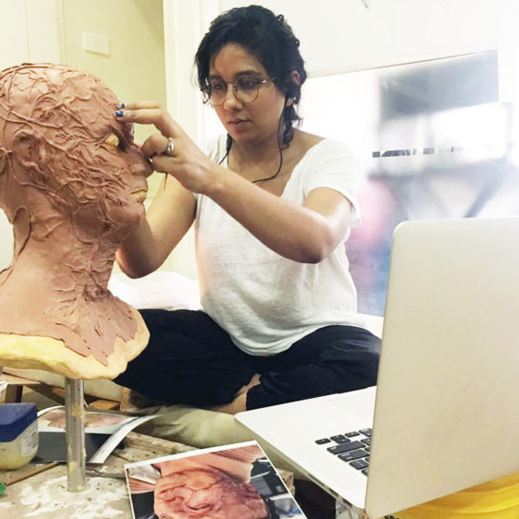 Preetisheel Singh at work in her studio Da Makeup Lab. – Pic 1.