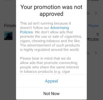 Instagram ads not approved