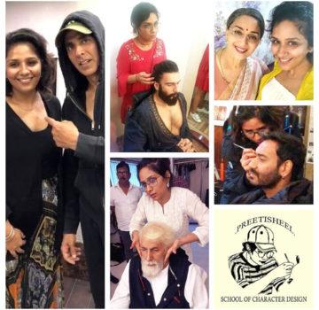 Preetisheel Singh with Akshay Kumar, Ranveer Singh, Amitabh Bachchan, Madhuri Dixit, Ajay Devgn and school logo. (1)