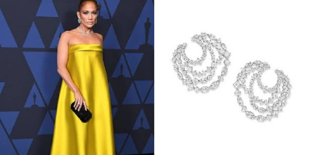 Jennifer Lopez Wears Harry Winston Platinum Jewelry Set at' 11th Annual Governors Awards""