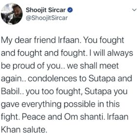 Shoojit Sircar on Irrfan Khan