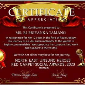 Certificate from Northeast Unsung Heroes Red Carpet Social Award