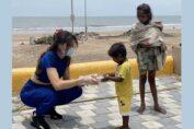 Urvashi Rautela distributed food to Tornado affected people
